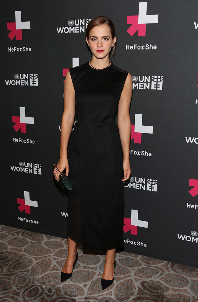 Emma Watson Wears Black Hugo Boss Dress at UN Women's Event