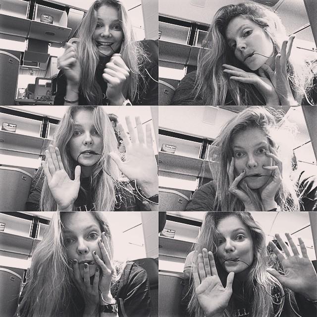 Eniko Mihalik takes a hands free selfie