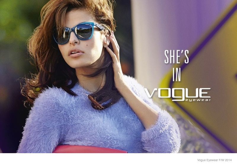 2f4ca3d34 Eva Mendes Stars in Vogue Eyewear's Fall/Winter 2014 Ads