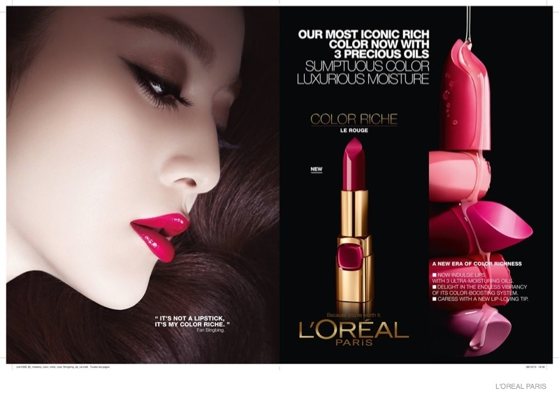 Fan Bingbing for L'Oreal Paris Color Riche Lipstick Ad