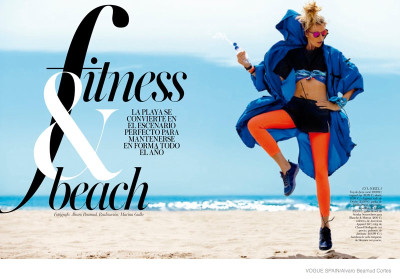 fitness fashion cato van ee03 Cato Van Ee Gets Fit at the Beach for Alvaro Beamud Cortes Shoot in Vogue Spain