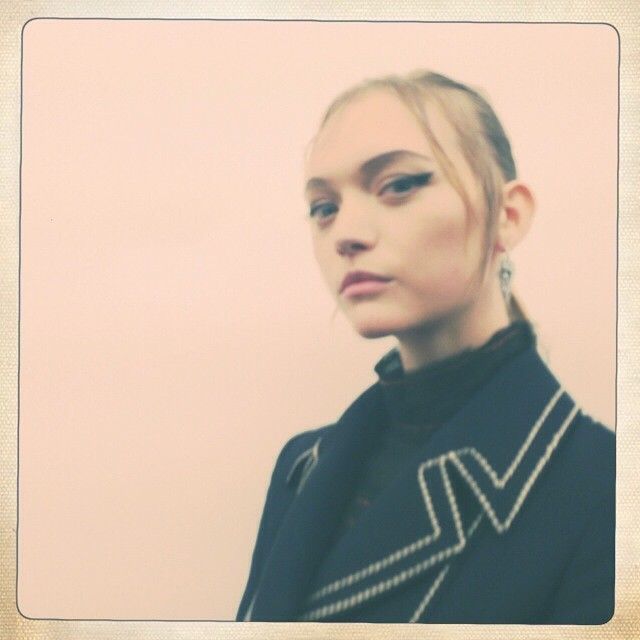 A backstage image from Prada S/S 2015 with Gemma Ward. Photo: Pat McGrath's Instagram