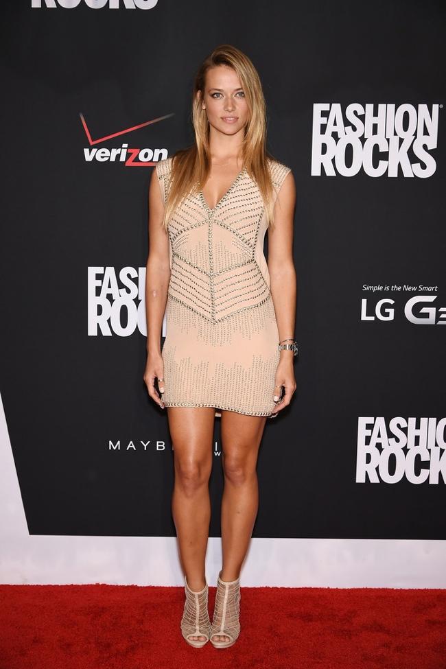 Model Hannah Ferguson sported a nude colored dress