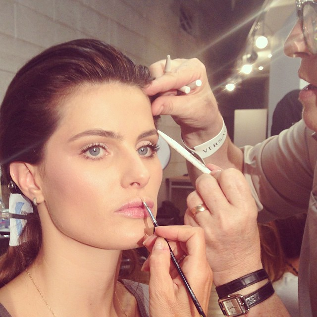 Isabeli Fontana prepping for Versace runway show