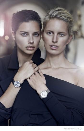 Adriana Lima & Karolina Kurkova Pose for IWC Watches Campaign by Peter Lindbergh