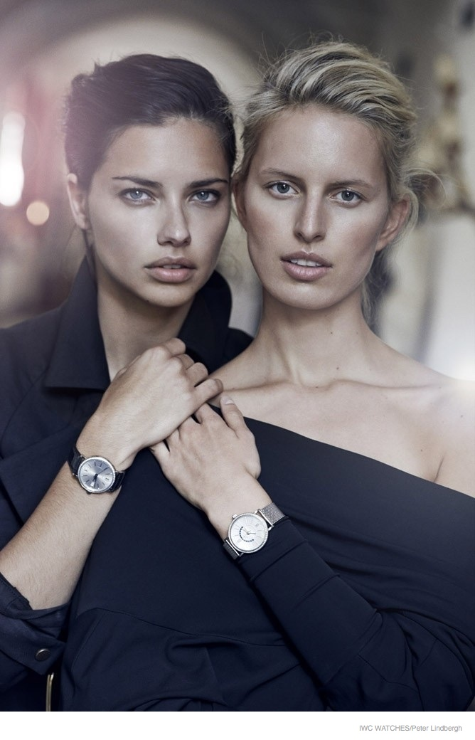 Adriana Lima & Karolina Kurkova Pose for IWC Watches Campaign by Peter Lindbergh