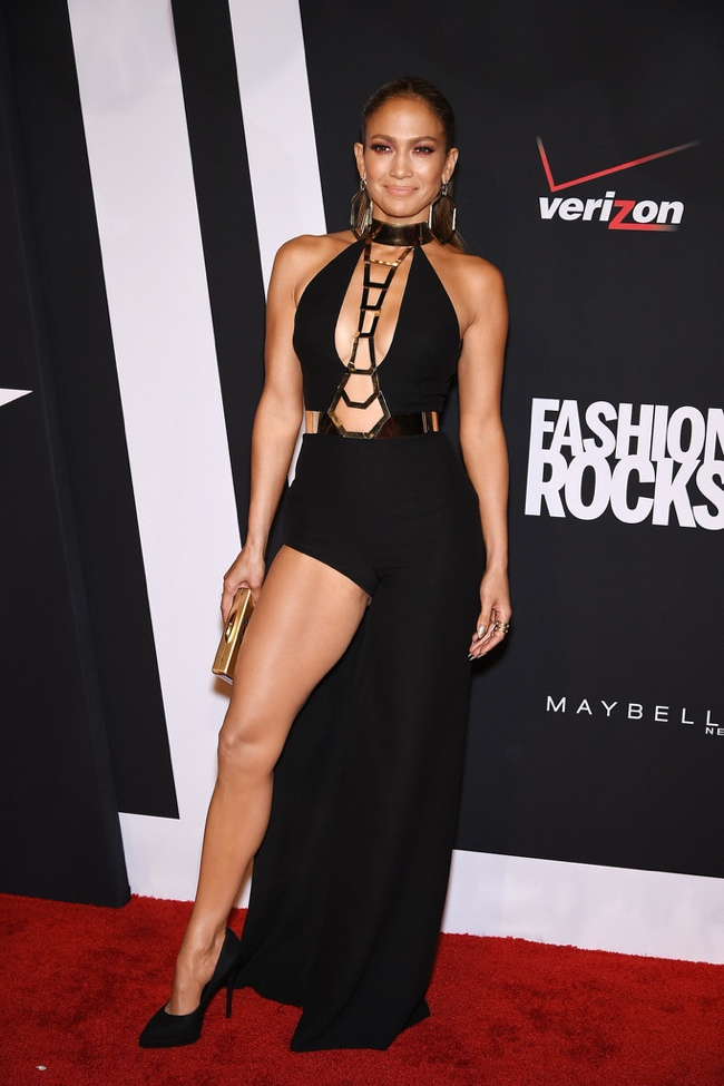 Jennifer Lopez donned a black cut-out dress by Atelier Versace
