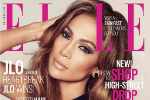 Jennifer Lopez Smolders in Black Dress on ELLE UK October 2014 Cover