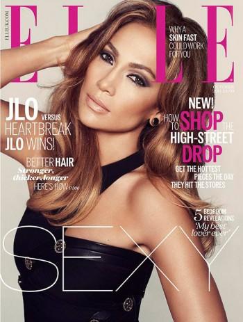 Jennifer Lopez Smolders in Black Dress on ELLE UK October 2014 Cover