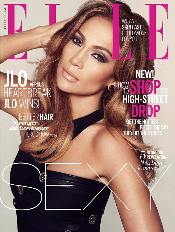 jennifer lopez elle uk cover 2014 Jennifer Lopez Smolders in Black Dress on ELLE UK October 2014 Cover