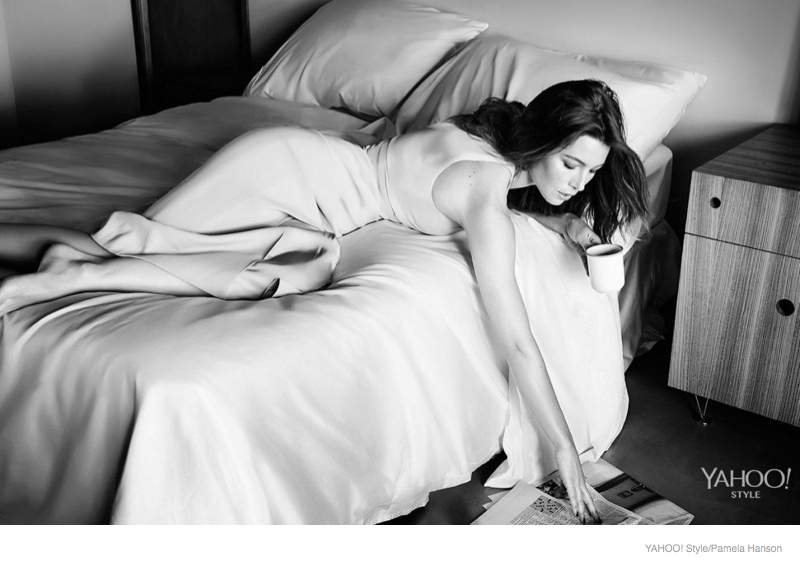 jessica biel bed yahoo style shoot 2014 01 Jessica Biel Poses in Bed for Yahoo! Styles Launch Issue