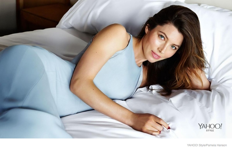 jessica biel bed yahoo style shoot 2014 03 Jessica Biel Poses in Bed for Yahoo! Styles Launch Issue