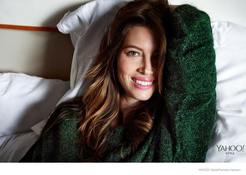 jessica biel bed yahoo style shoot 2014 05 Jessica Biel Poses in Bed for Yahoo! Styles Launch Issue