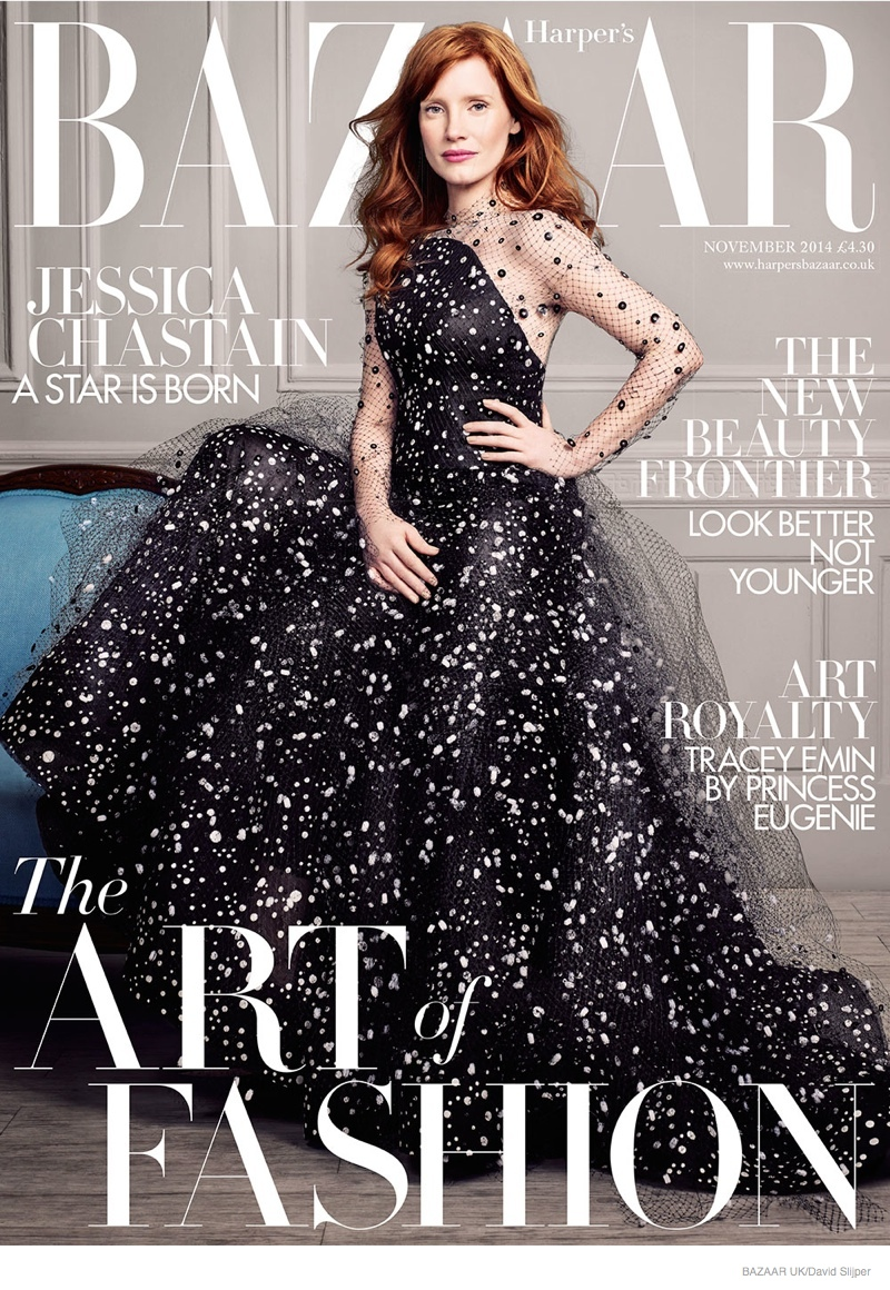 Jessica Chastain on Harper's Bazaar UK November 2014 Cover