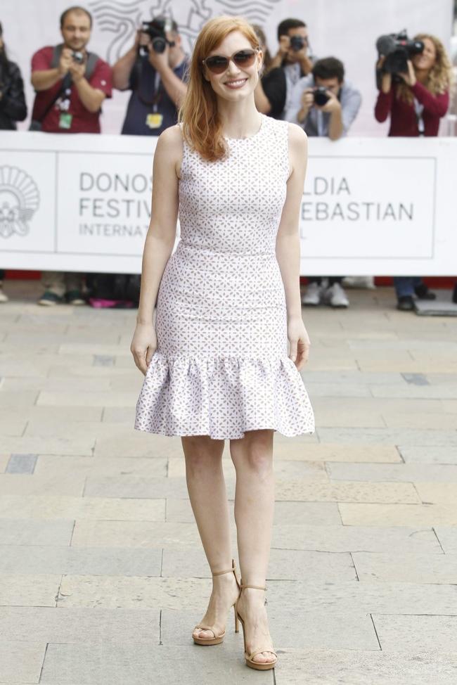 Jessica Chastain Wears White Michael Kors Dress at San Sebastian International Film Festival
