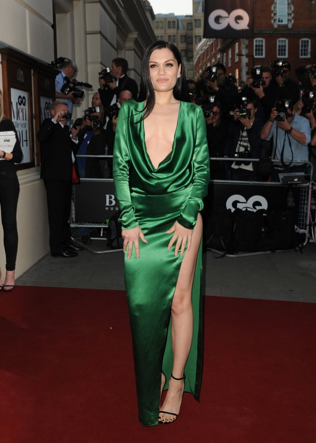 Jessie J donned a green gown with a plunging neckline