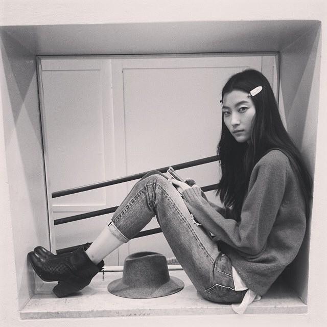 Ji Hye Park backstage at Iceberg show
