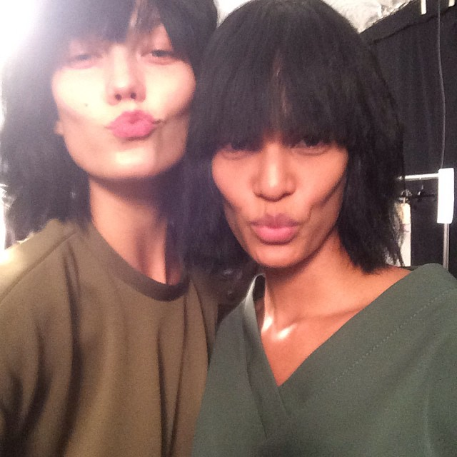 Karlie Kloss & Joan Smalls Backstage at Marc Jacobs S/S 2015. Photo: Instagram