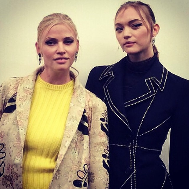 Lara Stone and Gemma Ward backstage at Prada