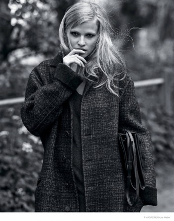 Lara Stone Poses for Bruce Weber in Oversized Style for T Magazine