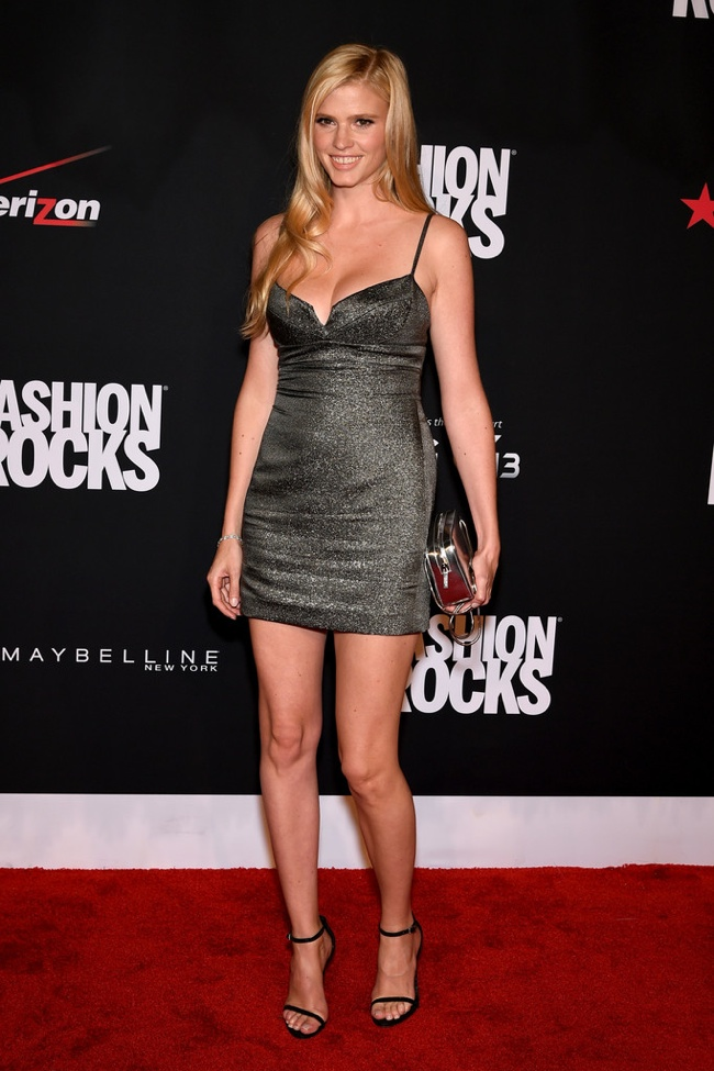Lara Stone donned a metallic Calvin Klein Collection dress
