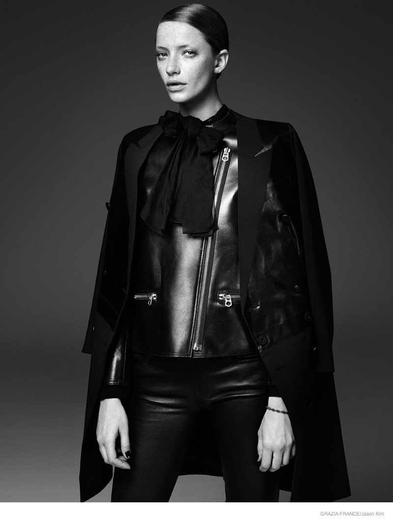 Milagros Schmoll Dons Leather Style for Grazia France by Jason Kim
