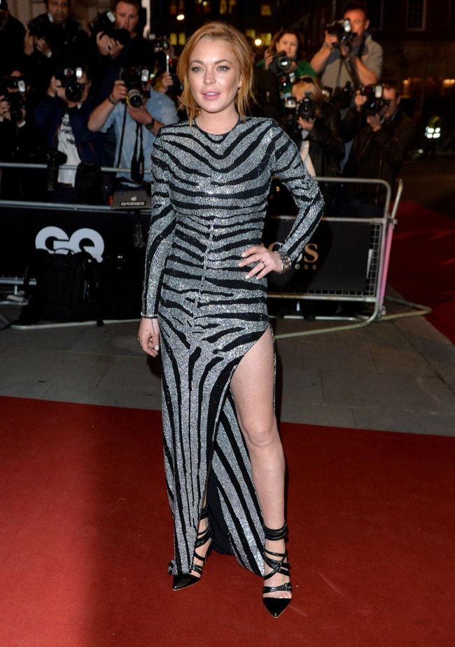 Lindsay Lohan in zebra print gown
