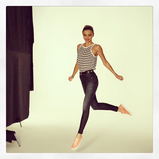 Miranda Kerr takes a leap for upcoming Reebok campaign. Photo: Instagram