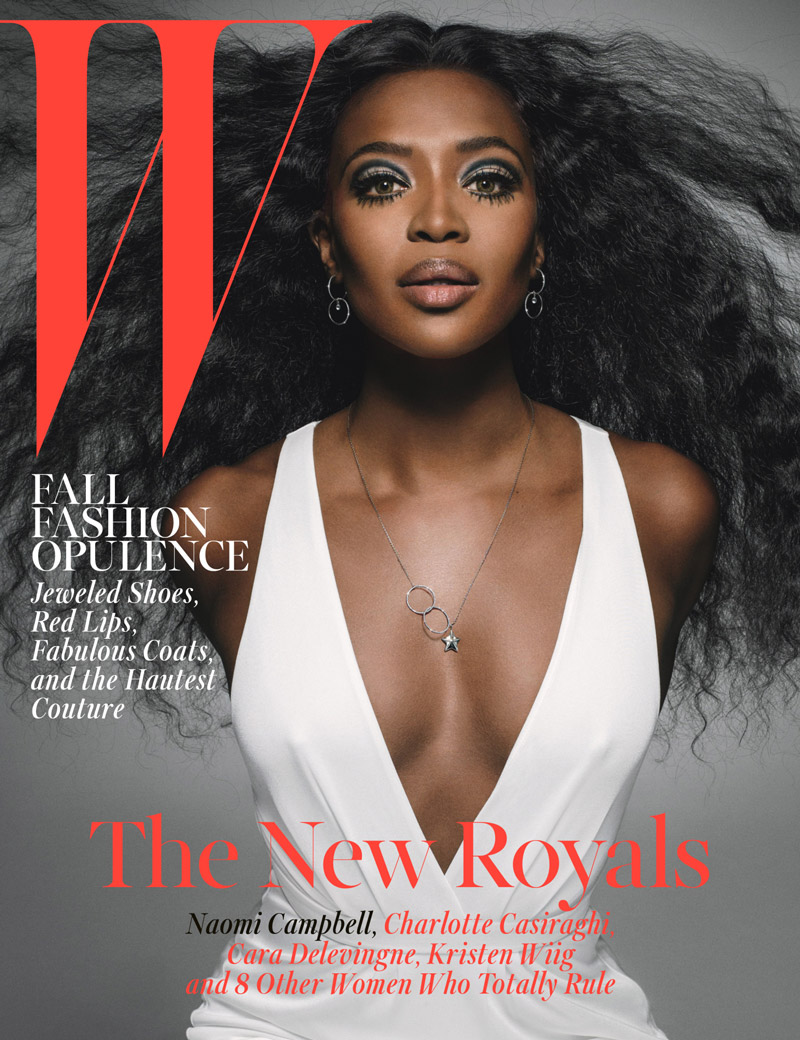 Naomi Campbell in Roberto Cavalli Dress on W Magazine October Cover