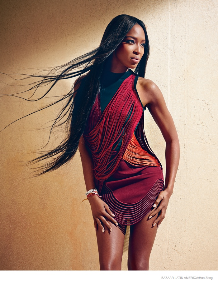 Naomi Campbell Stuns in Jewel Tones for Bazaar Latin America Cover Shoot
