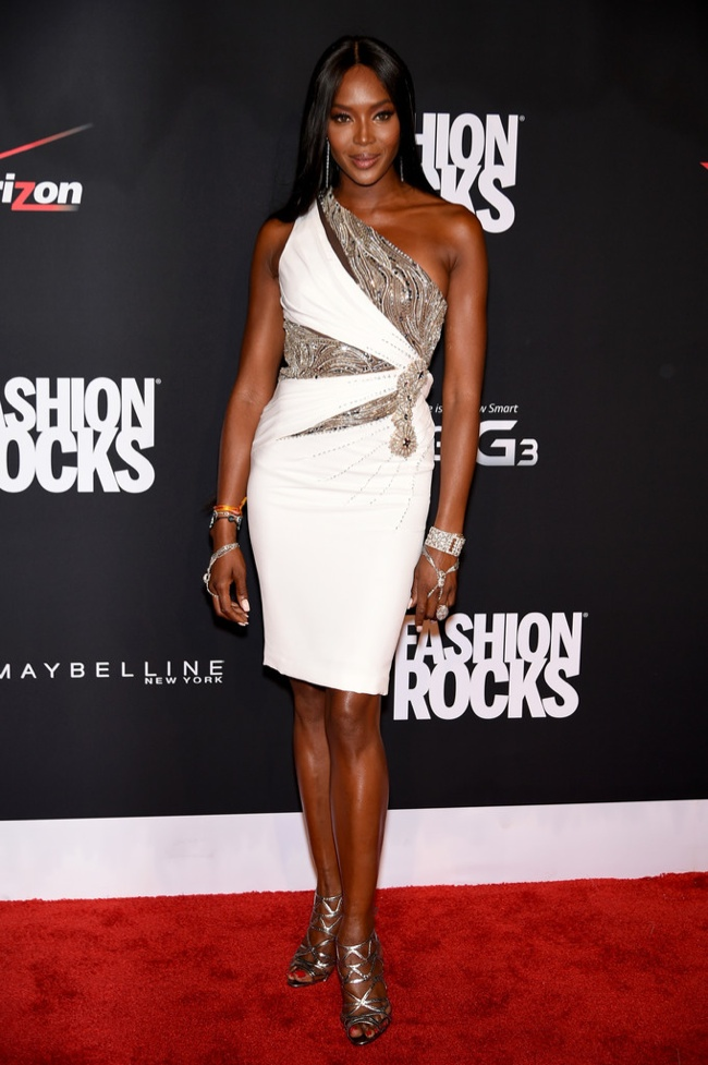 Naomi Campbell donned a white and metallic dress