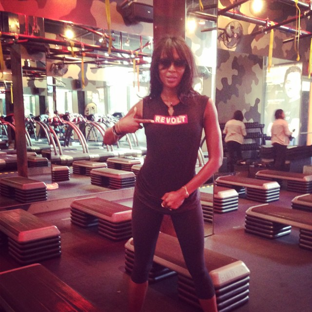 Naomi Campbell before her workout