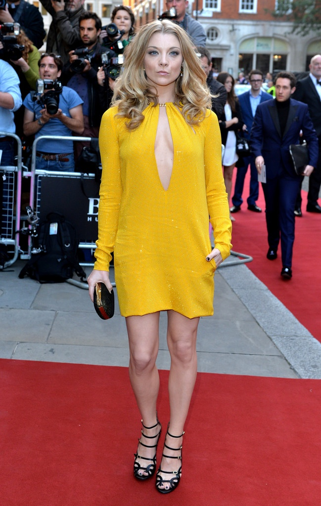 Natalie Dormer spotted in yellow Emilio Pucci dress