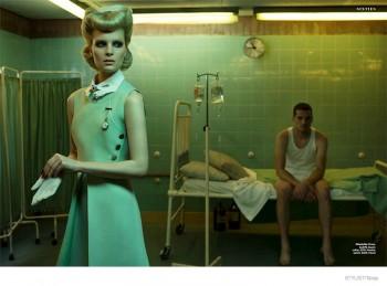Charlotte Tomas Plays a Fashionable Nurse for Stylist Magazine
