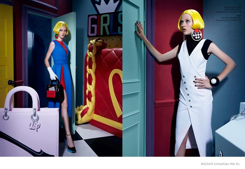 pop art fashion shoot02 Pop Art Style: Katerina by Xiao Wei Xu in Harpers Bazaar China September 2014