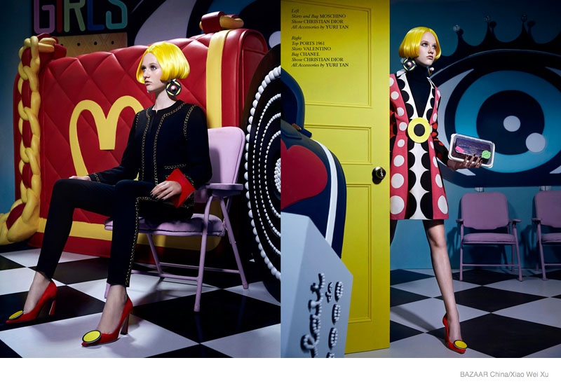 pop art fashion shoot03 Pop Art Style: Katerina by Xiao Wei Xu in Harpers Bazaar China September 2014