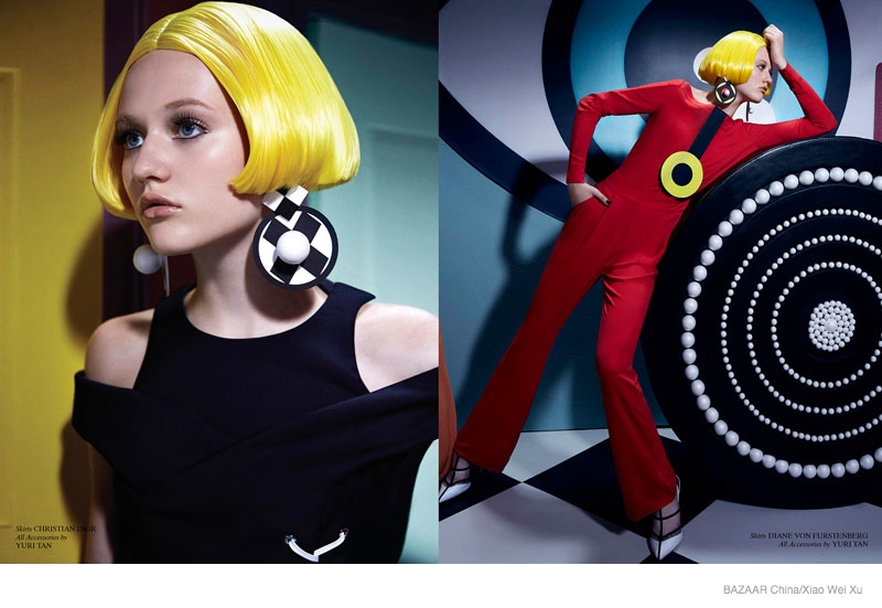 pop art fashion shoot05 Pop Art Style: Katerina by Xiao Wei Xu in Harpers Bazaar China September 2014