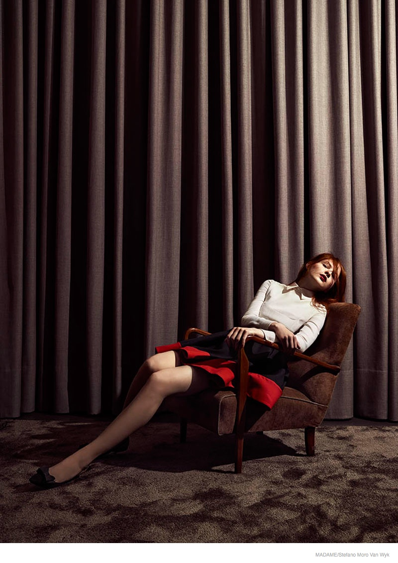 redhead fashion shoot look02 Lena Lounges in the Fall Collections for Madame by Stefano Moro Van Wyk