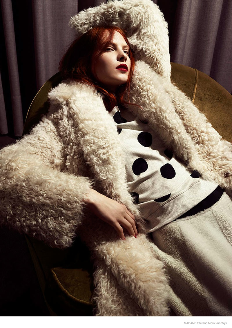 redhead fashion shoot look05 Lena Lounges in the Fall Collections for Madame by Stefano Moro Van Wyk