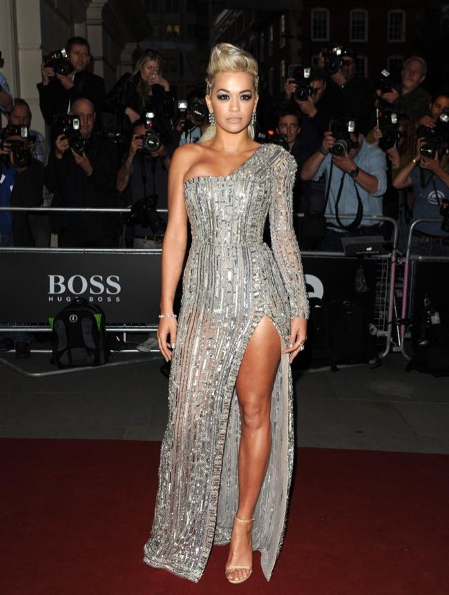 Rita Ora shows some leg in metallic Zuhair Murad Couture dress
