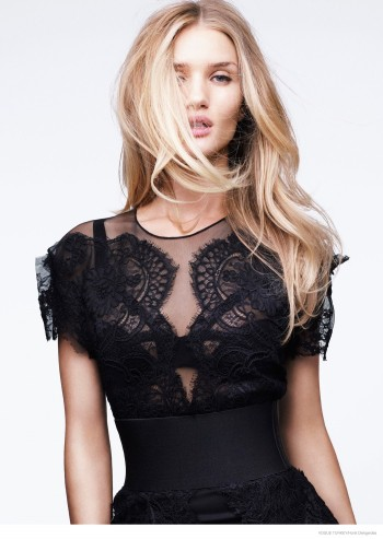 Rosie Huntington-Whiteley Models Lace & Sheer Looks for Vogue Turkey by Horst Diekgerdes