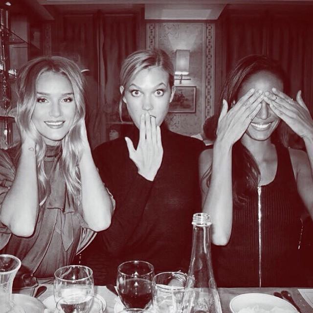 Rosie Huntington-Whiteley, Karlie Kloss and Joan Smalls do the hear no evil, speak no evil and see no evil pose