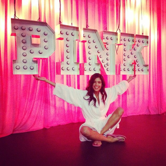 sara Sampaio on set of Victoria's Secret Pink shoot