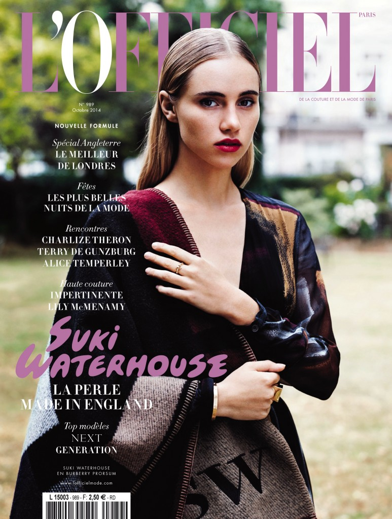 Suki Waterhouse Models Custom Burberry on L'Officiel Paris October 2014 Cover