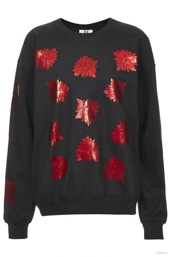 Topshop Spikey Foil Flower Sweat available at Topshop for $115.00