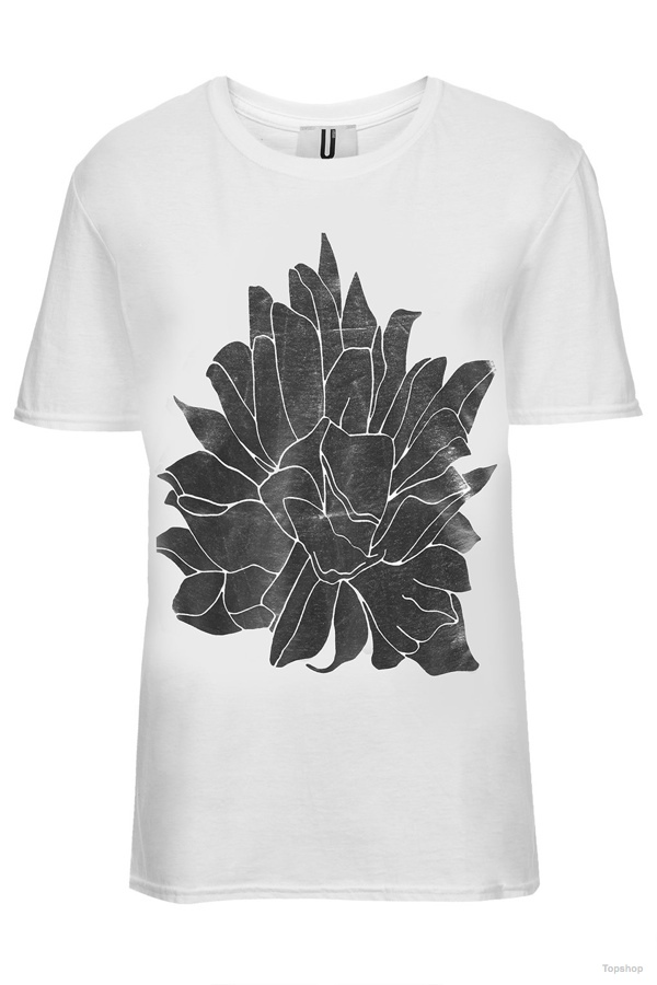 Topshop Unique Spikey Foil Flower Tee available at Topshop for $75.00