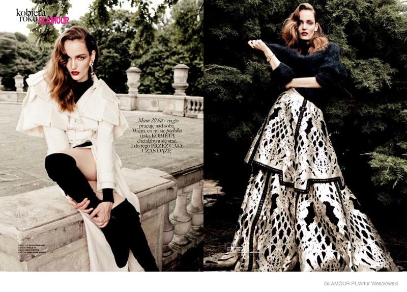 Zuzanna Bijoch Wears Ladylike Looks for Glamour Poland Cover Shoot