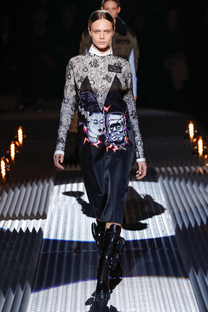 Cara Delevingne walks Prada fall-winter 2019 show.