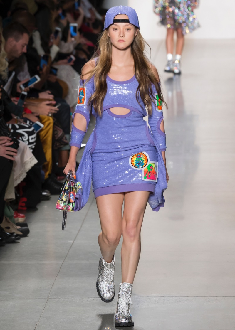 Devon Aoki walks Jeremy Scott spring-summer 2018 runway show.