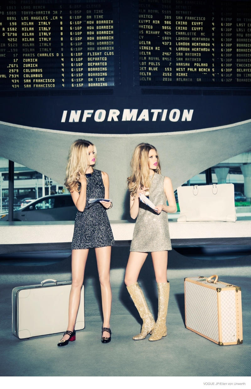 Frida Aasen + Stina Rapp Wastenson Model Airport Style for Vogue Japan by Ellen von Unwerth